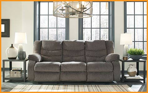 Reclining Sofa $469 this month at Neve's Floors To Go Furniture & Mattress Gallery