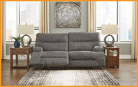 Reclining Sofa $599 this month at Neve's Floors To Go Furniture & Mattress Gallery