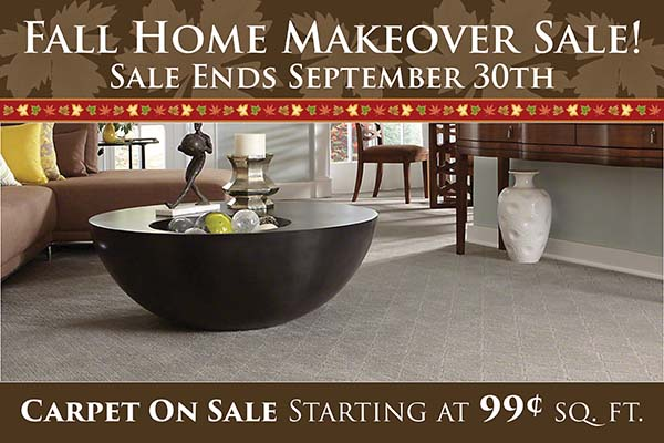 Fall Home Makeover Sale going on now at Neve's Floors To Go & Mattress Gallery! Carpet on sale starting at 99¢ sq.ft. Hurry in, sale ends September 30th.