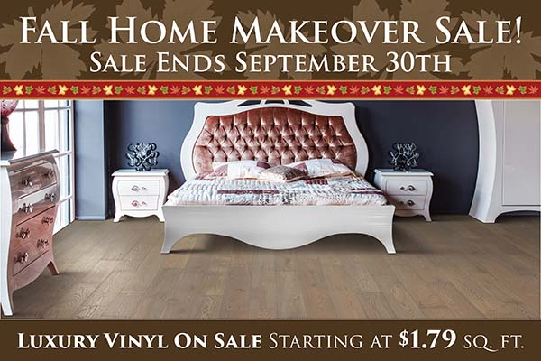 Fall Home Makeover Sale going on now at Neve's Floors To Go & Mattress Gallery! Luxury vinyl on sale for only $1.79 sq.ft. Hurry in, sale ends September 30th.