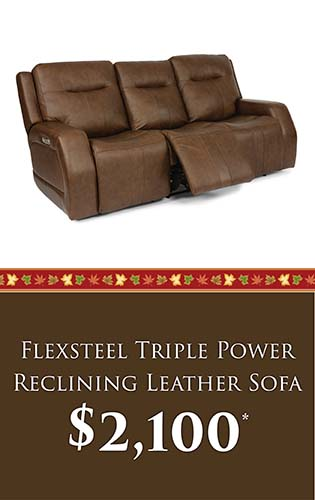 Fall Home Makeover Sale going on now at Neve's Floors To Go & Mattress Gallery! Flexsteel triple power reclining leather sofa for only $2,100 - Hurry in, sale ends September 30, 2020!