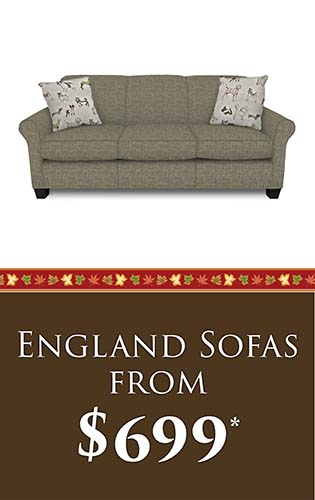 Fall Home Makeover Sale going on now at Neve's Floors To Go & Mattress Gallery! England sofas from $699 - Hurry in, sale ends September 30, 2020!