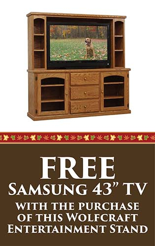 """Fall Home Makeover Sale going on now at Neve's Floors To Go & Mattress Gallery! Free Samsung 43"""" TV with the purchase of this Wolfcraft entertainment stand - Hurry in, sale ends September 30, 2020!"""