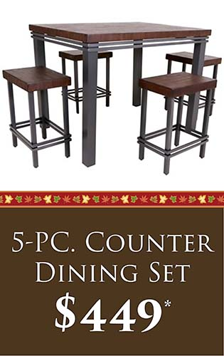 Fall Home Makeover Sale going on now at Neve's Floors To Go & Mattress Gallery! 5-PC. Counter dining set for only $449 - Hurry in, sale ends September 30, 2020!