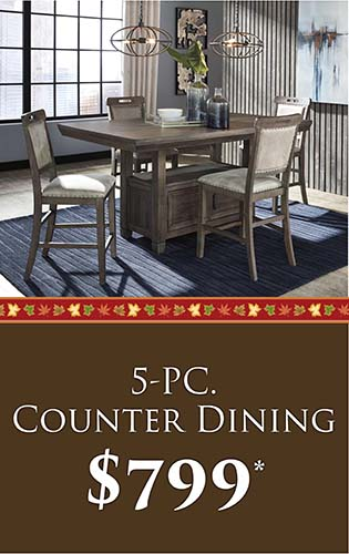 Fall Home Makeover Sale going on now at Neve's Floors To Go & Mattress Gallery! 5-PC. Counter dining for only $799 - Hurry in, sale ends September 30, 2020!