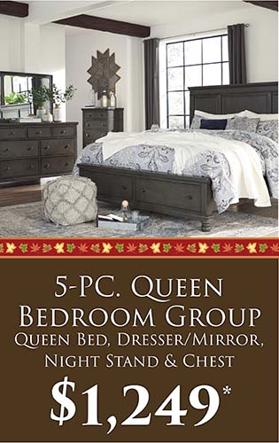 Fall Home Makeover Sale going on now at Neve's Floors To Go & Mattress Gallery! 5-PC. Queen bedroom group (queen bed, dresser/mirror, night stand, & chest) for only $1,249 - Hurry in, sale ends September 30, 2020!