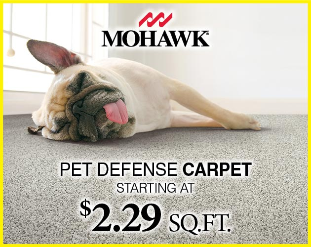 Mohawk Pet Defense Carpet starting at $2.29 sq.ft.