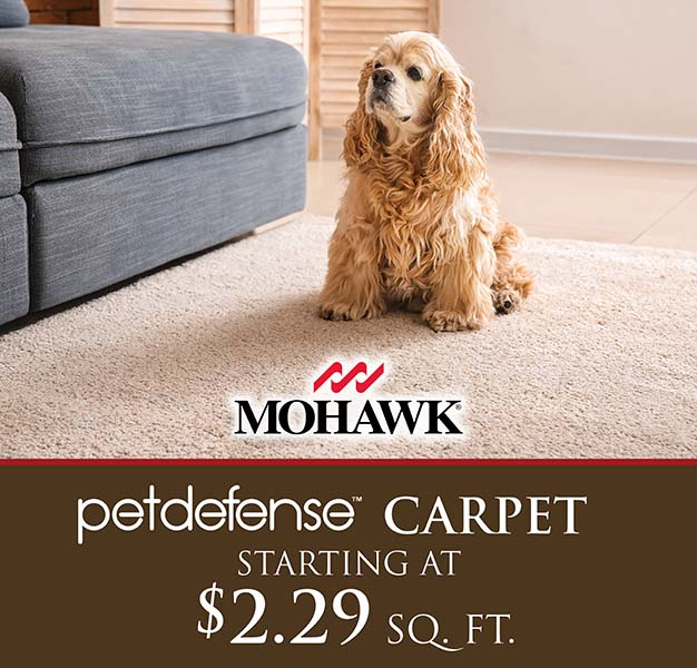 Pet Defense carpet starting at $2.29 sq. ft.
